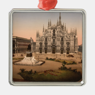 Vintage Milan Cathedral and Piazza,  Italy Square Metal Christmas Ornament