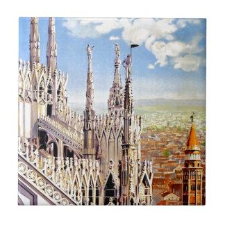 Vintage Milano Euruopean Italian Travel Art Ceramic Tile