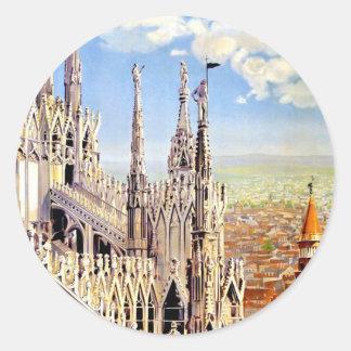 Vintage Milano Travel Classic Round Sticker