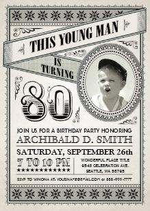 80th for man birthday invitations zazzle vintage milestone birthday invitations your photo filmwisefo