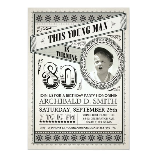 Vintage milestone birthday invitations your photo zazzle vintage milestone birthday invitations your photo filmwisefo Image collections