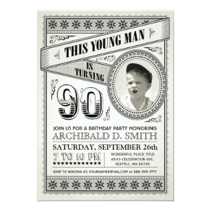 Milestone birthday invitations announcements zazzle vintage milestone birthday invitations your photo filmwisefo