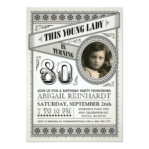 Young Lady/Young Man Vintage Birthday Invitation