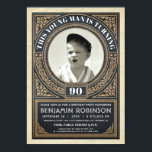 "Vintage Milestone Birthday Invitations Your Photo<br><div class=""desc"">Milestone Birthday Invitations Insert Your Photo - Deco damask retro style</div>"