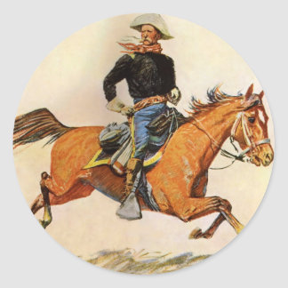 Vintage Military, A Cavalry Officer by Remington Classic Round Sticker