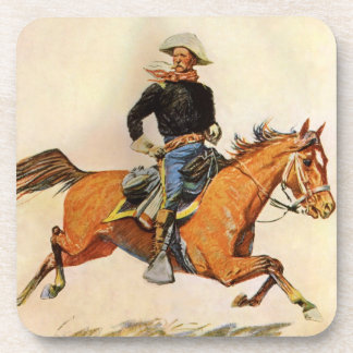 Vintage Military, A Cavalry Officer by Remington Coaster