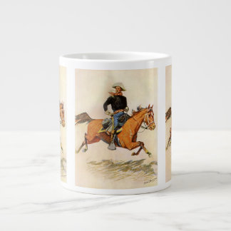 Vintage Military, A Cavalry Officer by Remington Large Coffee Mug