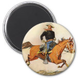 Vintage Military, A Cavalry Officer by Remington 2 Inch Round Magnet