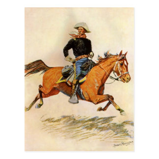 Vintage Military, A Cavalry Officer by Remington Postcard