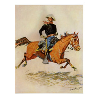 Vintage Military, A Cavalry Officer by Remington Poster