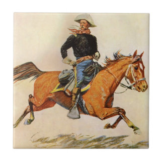 Vintage Military, A Cavalry Officer by Remington Tile