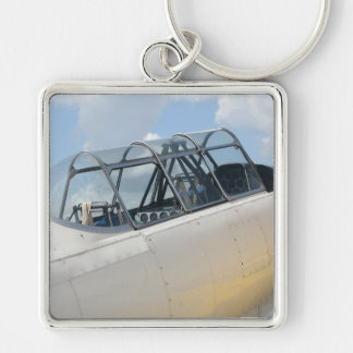 Vintage Military Aircraft Cockpit Silver-Colored Square Keychain