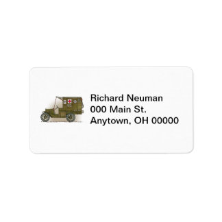 Vintage Military Ambulance Address Label