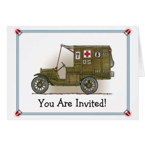 Vintage Military Ambulance Party Invitation Card