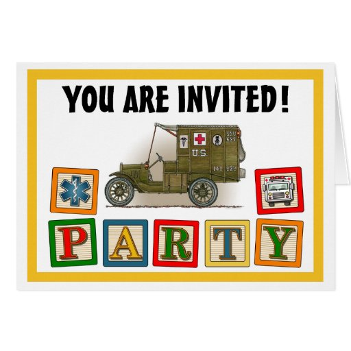 Vintage Military Ambulance Party Invitation Greeting Card
