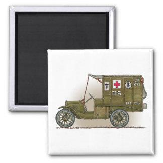 Vintage Military Ambulance Square Magnet