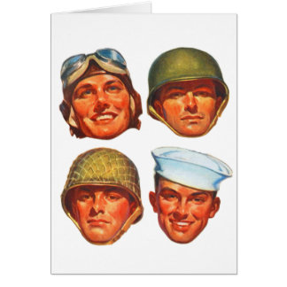 Vintage Military Army Navy Marines Airforce Men Card