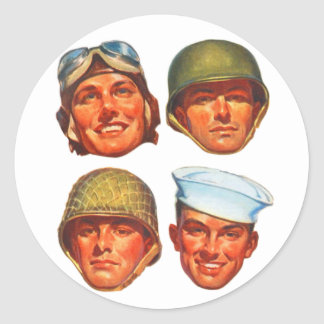 Vintage Military Army Navy Marines Airforce Men Classic Round Sticker