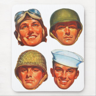 Vintage Military Army Navy Marines Airforce Men Mouse Pad
