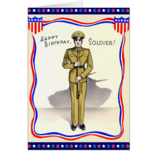 Vintage Military Birthday Card