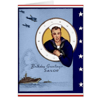 Vintage Military Birthday Greetings Sailor Card