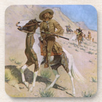 Vintage Military Cowboys, The Scout by Remington Beverage Coaster