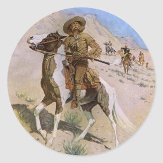 Vintage Military Cowboys, The Scout by Remington Classic Round Sticker