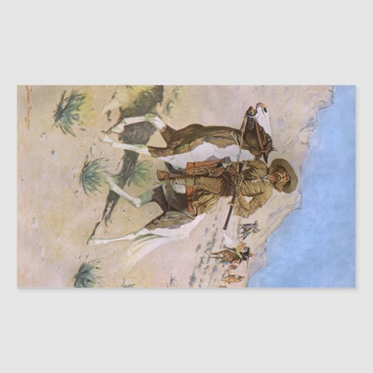 Vintage Military Cowboys, The Scout by Remington Rectangular Sticker