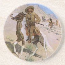Vintage Military Cowboys, The Scout by Remington Sandstone Coaster