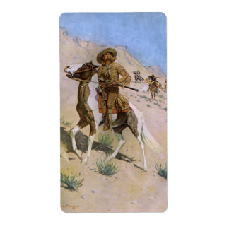 Vintage Military Cowboys, The Scout by Remington Shipping Label