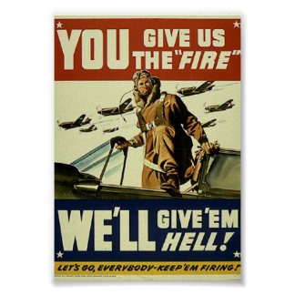Vintage Military Give em Hell Poster