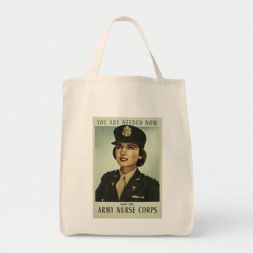Vintage Military Grocery Tote Bag