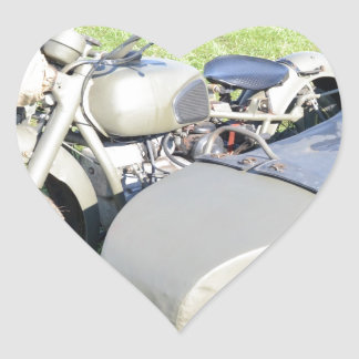 Vintage Military Motorcycle Combination Heart Sticker