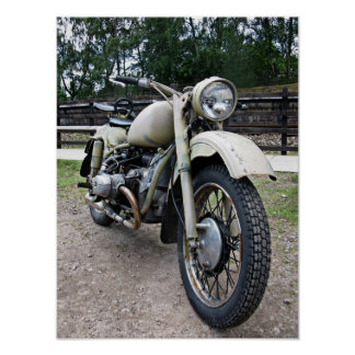 Vintage military motorcycle Poster