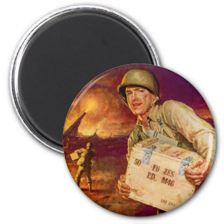 Vintage Military Pass the Ammunition World War Two 2 Inch Round Magnet