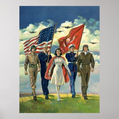 Vintage Military Personnel; Patriotic print