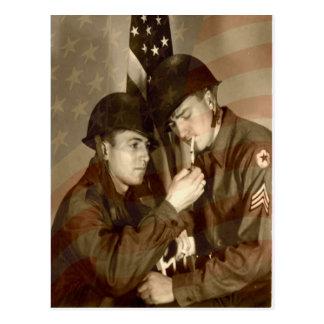 Vintage Military Photo Thank You Veterans Postcard