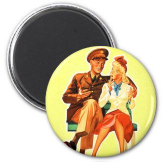 Vintage Military Solder Romance Romantic Couple Magnet