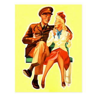 Vintage Military Solder Romance Romantic Couple Postcard