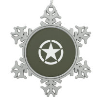 Vintage Military Star Snowflake Pewter Christmas Ornament