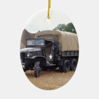 Vintage Military Truck Double-Sided Oval Ceramic Christmas Ornament