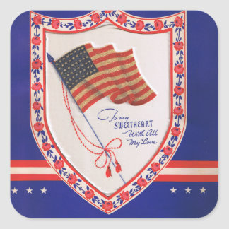 Vintage Military Valentine Square Sticker