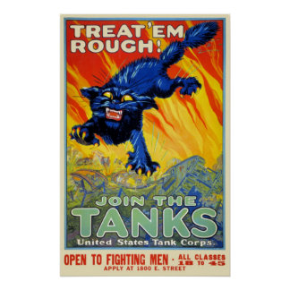 Vintage Military War Advertising with a Wild Cat Poster