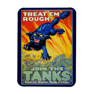 Vintage Military War Advertising with a Wild Cat Rectangle Magnets
