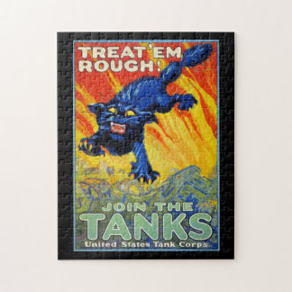 Vintage Military War Advertising with a Wild Cat Jigsaw Puzzles