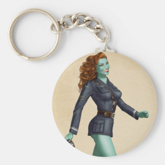 Vintage Military Zombie Pinup Girl Basic Round Button Keychain