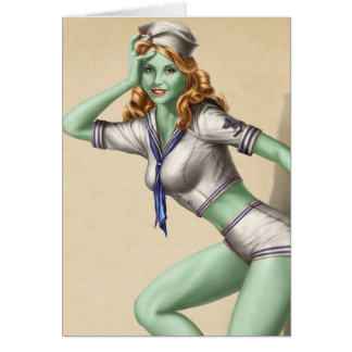 Vintage Military Zombie Pinup Girl Greeting Card