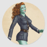 Vintage Military Zombie Pinup Girl Classic Round Sticker