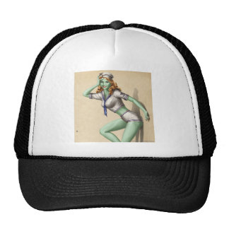 Vintage Military Zombie Pinup Girl Hat