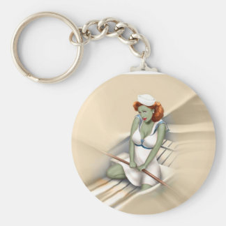 Vintage Military Zombie Pinup Girl Keychain